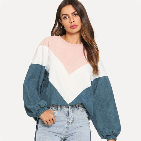 Preppy Cut And Sew Chevron Round Neck Bishop Sleeve Pullovers Colorblock Women Sweatshirts - WOMENEXY