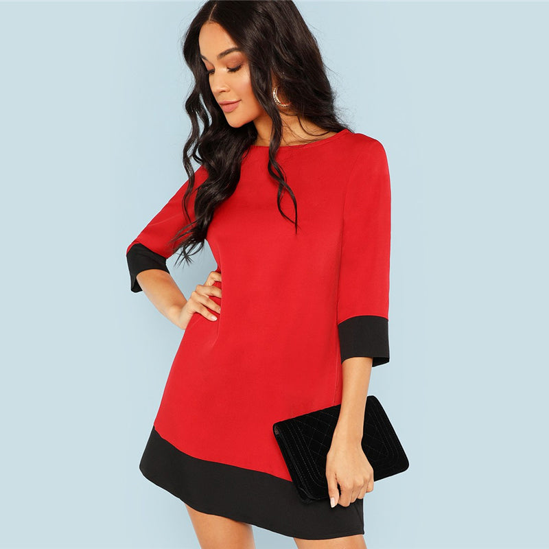 Workwear Contrast Trim Tunic Women Dress - Red