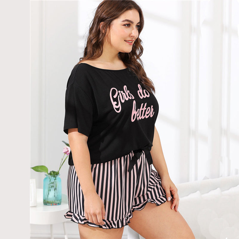 Preppy Letter Print Tee and Striped Shorts Plus Size Women Pajama Sets - L to 3XL