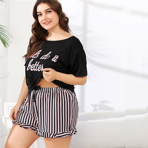 Preppy Letter Print Tee and Striped Shorts Plus Size Women Pajama Sets - L to 3XL - WOMENEXY