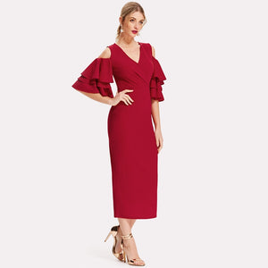 Pink V-Neck Ruffle Belted Open Shoulder Sexy Party Elegant Autumn Evening Red Long Dress