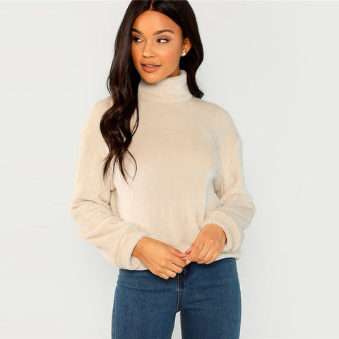 Elegant High Neck Faux Fur Belted Solid Pullover Women Sweatshirts - Beige - WOMENEXY