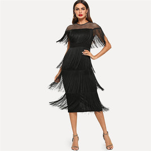 Highstreet Sheer Yoke Layered Fringe Detail Women Dresses - Black - WOMENEXY