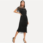 Load image into Gallery viewer, Highstreet Sheer Yoke Layered Fringe Detail Women Dresses - Black - WOMENEXY