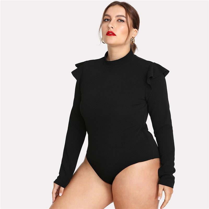 Black Ruffle Embellished Shoulder Long Sleeve Plus Size Slim Fit Office Lady Autumn Winter Solid Bodysuit - WOMENEXY