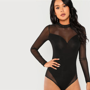 Elegant Mock Neck Mesh Panel Long Sleeve Skinny Solid Women Bodysuits - Black - Size XS to L - WOMENEXY