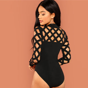 Fashion Skinny Knot Mid Waist Mock Neck Geo Cut Out Women Bodysuits - Black - Size XS to L - WOMENEXY