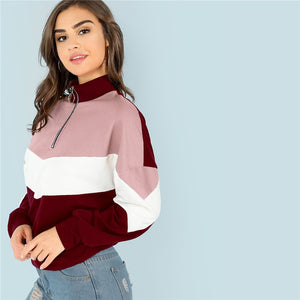 Sporty Colorblock O-Ring Zip Front Cut and Sew Stand Collar Women Sweatshirts