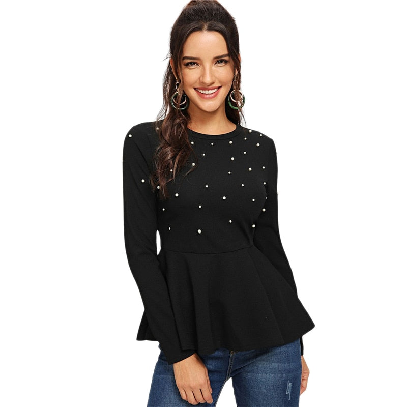 Elegant Pearls Beaded Solid Peplum Round Neck Long Sleeve Flared Women Blouses - Black - WOMENEXY