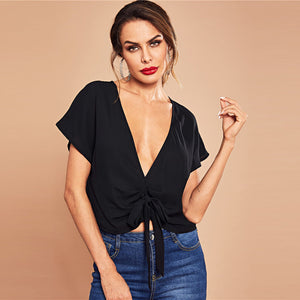 Casual Solid Knot Front Deep V-Neck Cap Sleevel Crop Blouse - WOMENEXY