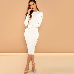 Office Lady Solid Mock Neck Rib Knit Long Sleeve Bodycon Skinny Dress