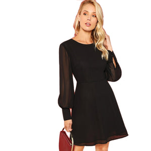 Weekend Casual High Waist Round Neck Pleated A-Line Shift Bishop Sleeve Dress - WOMENEXY