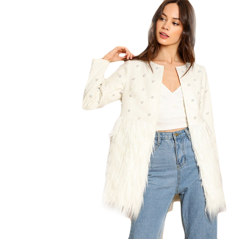 Office Lady Solid Pearl Embellished Faux Fur Round Neck Jacket - WOMENEXY