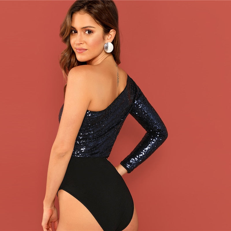 Party Highstreet Colorblock Contrast Sequin One Shoulder Long Sleeve Bodysuit