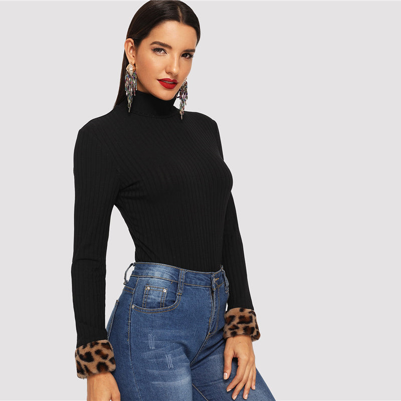Elegant Leopard Print Fur Cuff Slim Fitted High Neck Long Sleeve Workwear Tee - WOMENEXY