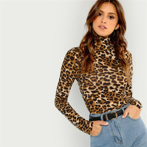 Highstreet High Neck Leopard Print Long Sleeve Women T-Shirt - Brown