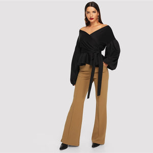 Workwear Solid Belted Off Shoulder Lantern Sleeve Surplice Peplum Women Blouse - Black - WOMENEXY