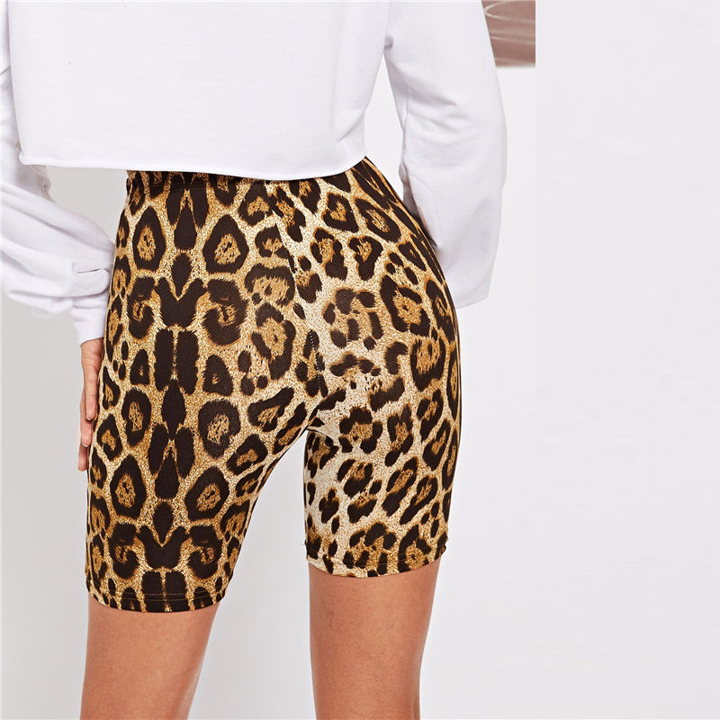 Casual Leopard Print Skinny Short Athleisure Crop Women Leggings - Size XS to L - WOMENEXY