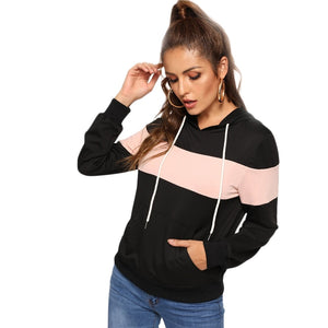 Sporty Hooded Drawstring Color Block Pocket Pullover Women Sweatshirts - WOMENEXY