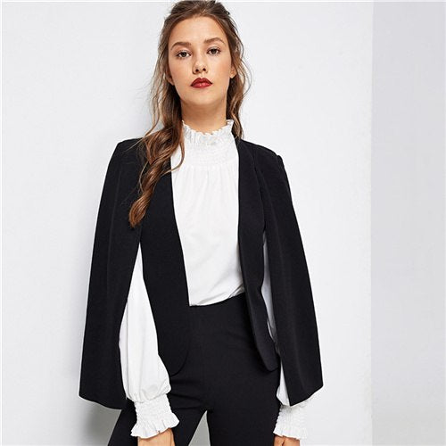 Poncho Office Lady Streetwear Cloak Open Front Blazer