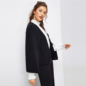 Poncho Office Lady Streetwear Cloak Open Front Blazer - WOMENEXY