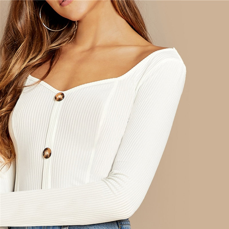 Button Front Ribbed Knit Deep V Neck Pullovers Tee - WOMENEXY