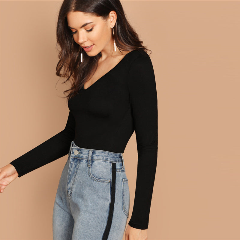 V Neck Solid Long Sleeve Crop Slim Fit Tee - WOMENEXY