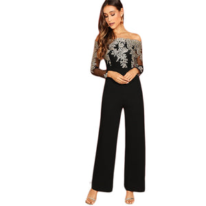 Embroidery Sheer Mesh Off Shoulder Long Sleeve Straight Leg Jumpsuit - WOMENEXY