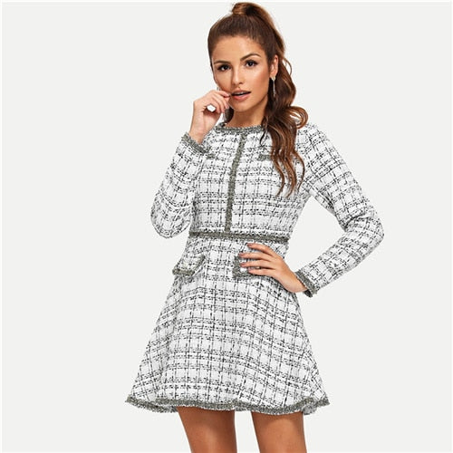 Elegant Office Lady Ruffle Beaded Fringe Pearl Embellished Long Sleeve Tweed Autumn Preppy Women Dress - White - WOMENEXY