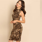 Load image into Gallery viewer, Modern Lady Elegant Mock-Neck Leopard Print Knee Length Stand Collar Women Dress - WOMENEXY