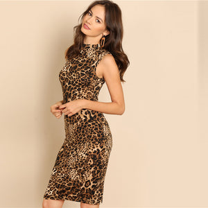 Modern Lady Elegant Mock-Neck Leopard Print Knee Length Stand Collar Women Dress - WOMENEXY