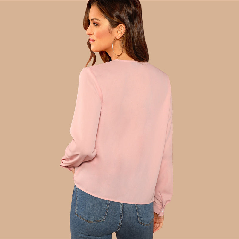 Office Lady Solid Button Draped Wrap Deep V-Neck Long Sleeve Women Blouses - Pink