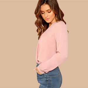 Office Lady Solid Button Draped Wrap Deep V-Neck Long Sleeve Women Blouses - Pink - WOMENEXY