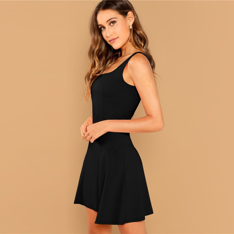 Elegant Fit and Flare Solid Women Dresses - Black - WOMENEXY