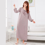 Load image into Gallery viewer, Abaya Embroidered Flounce Neck Bishop Sleeve Women Nightdress - Pink - XS to XL - WOMENEXY