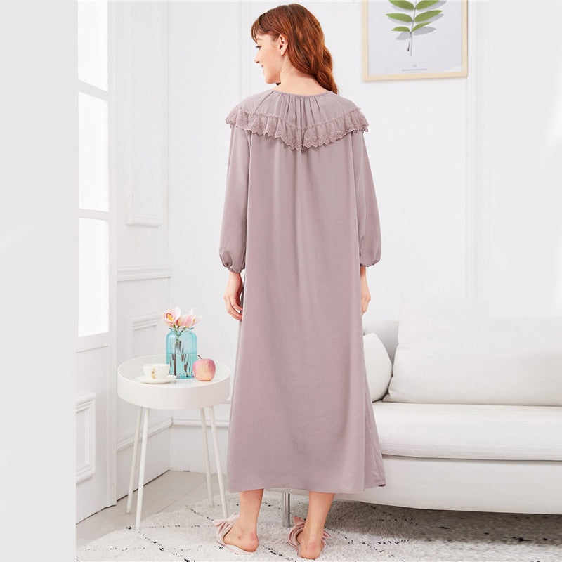Abaya Embroidered Flounce Neck Bishop Sleeve Women Nightdress - Pink - XS to XL - WOMENEXY