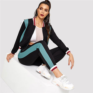 Sporty Colorblock O-Ring Zip Up Stand Collar Sweatshirts and Sweatpants Women Sets - Black