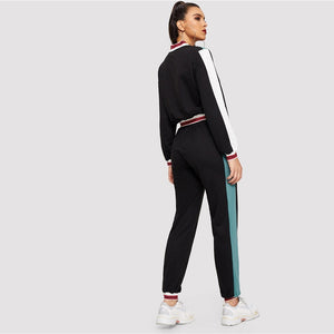 Sporty Colorblock O-Ring Zip Up Stand Collar Sweatshirts and Sweatpants Women Sets - Black - WOMENEXY