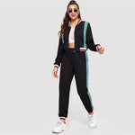 Load image into Gallery viewer, Sporty Colorblock O-Ring Zip Up Stand Collar Sweatshirts and Sweatpants Women Sets - Black - WOMENEXY