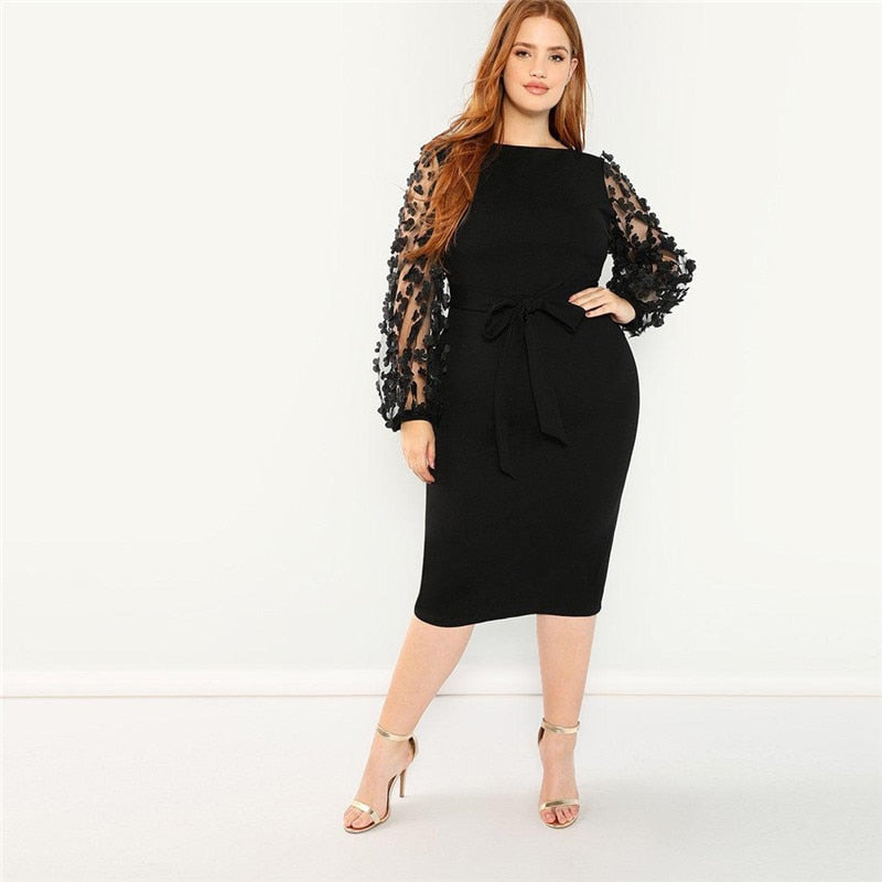 Party Applique Mesh Lantern Sleeve Belted Slim Fit Plus Size Pencil Dresses - Black - Size L to 3XL - WOMENEXY