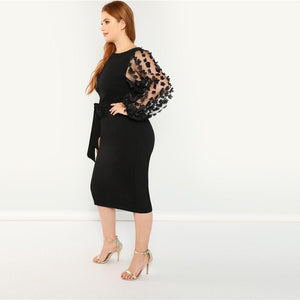Party Applique Mesh Lantern Sleeve Belted Slim Fit Plus Size Pencil Dresses - Black - Size L to 3XL
