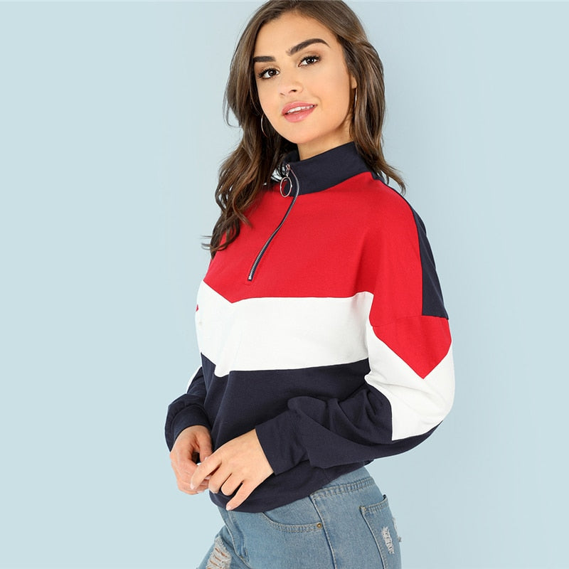 Sporty O-Ring Zip Front Cut and Sew Stand Neck Raglan Sleeve Women Sweatshirts - WOMENEXY