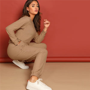 Sporty Round Neck Solid Pullover and  Slant Pocket Plain Pants Women Sets - Apricot
