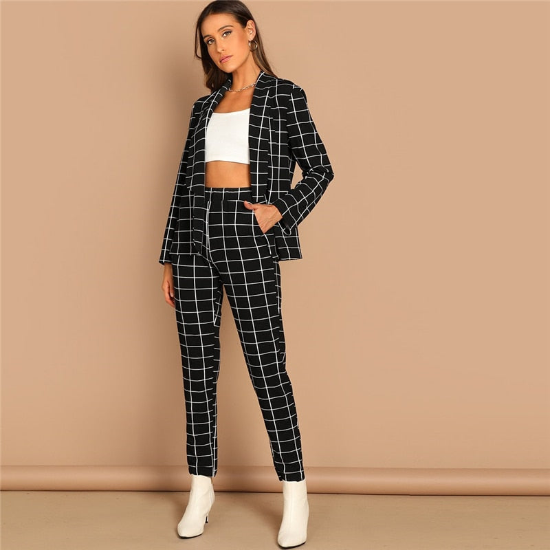 Modern Stretchy Grid Print Shawl Collar Plaid Long Sleeve Blazer Pants Set - Black