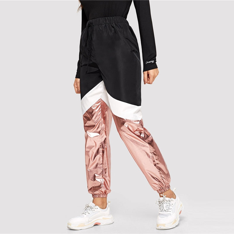 Sporty Cut and Sew Metallic Panel Drawstring Colorblock Mid Waist Athleisure Women Sweatpants