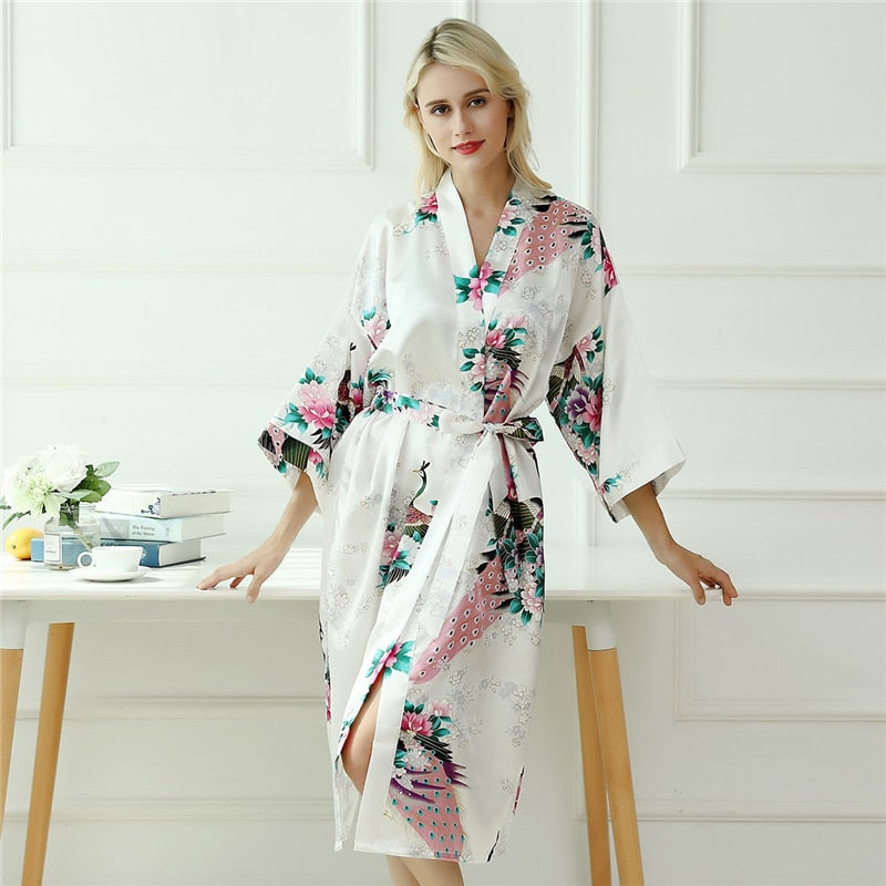 Spring Peacock and Flower Print Self Belted Women Robe - S to XL