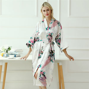 Spring Peacock and Flower Print Self Belted Women Robe - S to XL - WOMENEXY