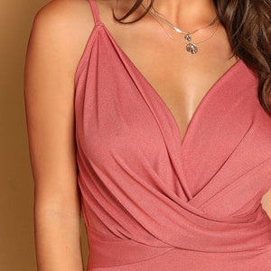Sexy Plunging Neck Cross Wrap Cami Women Bodysuit - Pink