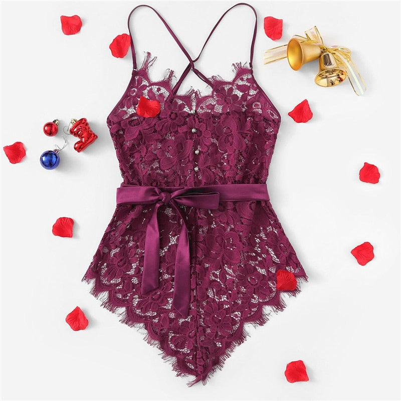 Sexy Criss Cross Eyelash Floral Lace Women Teddies Bodysuits - Maroon - S to XL - WOMENEXY