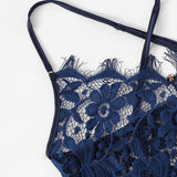 Sexy Criss Cross Eyelash Floral Lace Women Teddies Bodysuits - Navy - S to XL - WOMENEXY